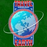 Reis, exploratie en ontdekkingsaarde Gestileerde continenten op de achtergrond van de bol vector illustratie