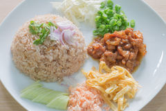Reis gemischt mit Garnelepaste Lizenzfreies Stockbild