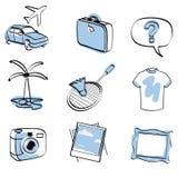 Reis geplaatst pictogram + vector Stock Foto