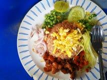 Reis gewürzt mit Garnelenpaste stockfotografie