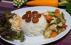 Reis-Hühnerwurstlebensmittel Thailand Stockfotos