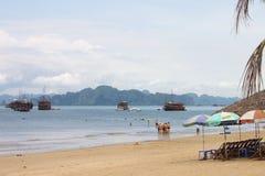Reis in Halong-Baai Het Overzees en de Blauwe Hemel op de Boot Halong C Royalty-vrije Stock Foto's