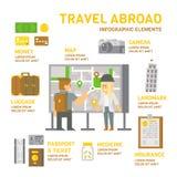 Reis in het buitenland infographic vlak ontwerp Stock Foto