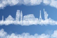 Reis het concept van de wereldwolk Stock Foto