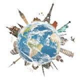 Reis het concept van het wereldmonument royalty-vrije illustratie