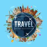 Reis, het ontwerpmalplaatje van het reis vectorembleem wereld Stock Afbeeldingen
