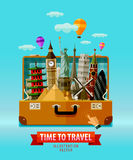 Reis, het ontwerpmalplaatje van het vakantie vectorembleem Royalty-vrije Stock Foto's