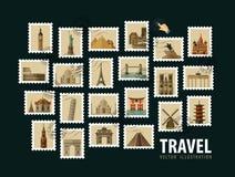 Reis, het ontwerpmalplaatje van het vakantie vectorembleem Stock Foto's