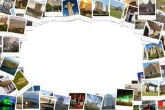 Reis in Ierland Collage van polaroids wordt gemaakt die Stock Fotografie