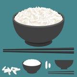 Reis im Schüssel- und Essstäbchenvektor lizenzfreie abbildung