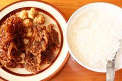 Reis im Schmelzwasser, thailändisches Lebensmittel. Stockbilder