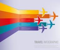 Reis infographic malplaatje met kleurrijke vliegtuigen Vector illustratie vector illustratie