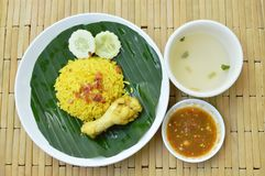Reis kochte mit Huhn im Curry auf Platten- und Suppenschale Lizenzfreie Stockfotos