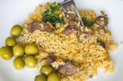 Reis, Lebensmittel, Abendessen, Teller, Küche, Kultur Lizenzfreie Stockbilder