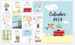Reis maandelijkse kalender 2019 met bestelwagen, zon, koffer, overzees, strand, wat vector illustratie