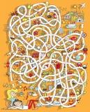 Reis Maze Game. Oplossing in verborgen laag! Stock Afbeeldingen
