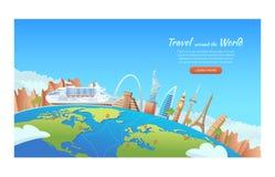 Reis met beroemde wereldoriëntatiepunten Cruiseschip rond de wereld Het concept van de reis en van het toerisme Vectorbannerillus royalty-vrije illustratie