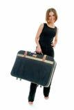 Reis met oude koffer Stock Foto
