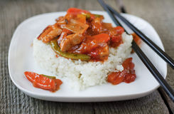 Reis mit Asiat gekochtem Gemüse Lizenzfreie Stockfotos