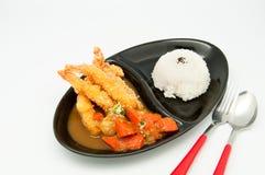Reis mit Currygarnele Tempura Lizenzfreie Stockbilder