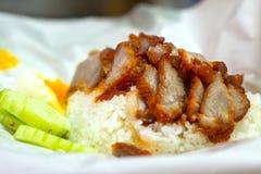 Reis mit gebratenem rotem Schweinefleisch Lizenzfreie Stockbilder