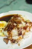 Reis mit gebratenem Schweinefleisch Lizenzfreies Stockbild