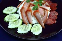 Reis mit gebratenem Schweinefleisch Stockfotos