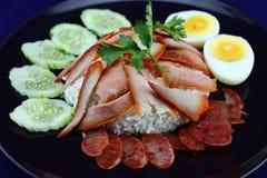 Reis mit gebratenem Schweinefleisch Lizenzfreie Stockbilder