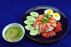 Reis mit gebratenem Schweinefleisch Lizenzfreie Stockfotografie
