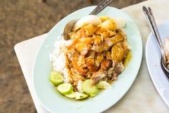 Reis mit gebratenem Schweinefleisch Stockfotografie
