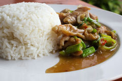 Reis mit gebratenem Schweinefleisch und Basilikum Stockbild