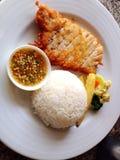 Reis mit Hühnerfischsauce Lizenzfreie Stockfotos