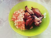 Reis mit Hühnerflügeln Lizenzfreie Stockfotos