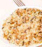 Reis mit Hackfleisch und Pilzen Stockbilder