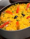 Reis mit Huhn Stockfotos
