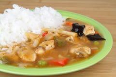 Reis mit Huhn Stockbild