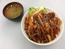 Reis mit Huhn-teriyaki lizenzfreies stockfoto
