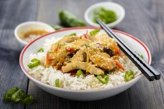Reis mit Huhn und Gemüse Stockfotos