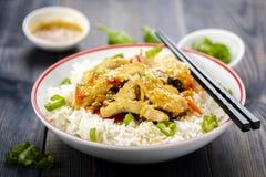 Reis mit Huhn und Gemüse Lizenzfreies Stockfoto