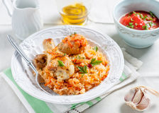 Reis mit Huhn und Gemüse in der Tomatensauce Lizenzfreie Stockfotos