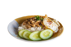 Reis mit Knoblauchhühnergebratenem und Spiegelei (Thailändische Lebensmittelart) stockbilder