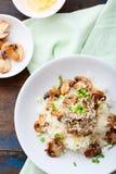Reis mit Pilzen auf weißer Platte Stockbilder