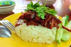 Reis mit Schweinefleisch lizenzfreies stockbild