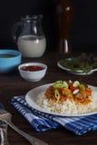 Reis mit Schweinefleisch auf einer weißen Platte Lizenzfreie Stockbilder