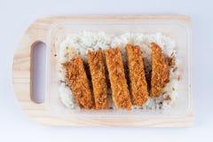 Reis mit Schweinefleischkotelett Tonkatsu Stockbild