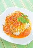 Reis mit Soße Lizenzfreies Stockbild