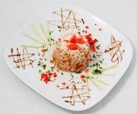Reis mit Tomate und Pfeffer Lizenzfreies Stockfoto