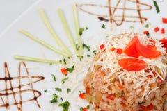 Reis mit Tomate und Pfeffer Stockfoto