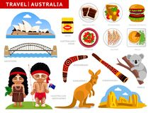 Reis naar Australië Een inzameling van kleurrijke illustraties voor handleiding stock illustratie