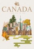 Reis naar Canada Canadese vectorillustratie met lichte achtergrond Retro stijl Reisprentbriefkaar vector illustratie